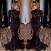 Wholesale Cheap Bling Shirts - Bling Black Sequined Evening Dresses 2017 Michael Costel Long Sleeves Mermaid Prom Dresses Sequins Red Carpet Celebruty Dresses Cheap