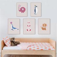 decoración moderna de la habitación del bebé al por mayor-Moderno Kawaii Animal Elephant Penguin Poster Nordic Kids Baby Room Wall Art Print Imagen Home Decor Canvas Pintura Sin Marco