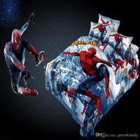 Wholesale Spiderman Duvet Covers - 100% Cotton Cartoon 3D Superman Spiderman Twin Queen King Size 3 4 pcs Bedding set For Boys Duvet Cover Bed Sheet