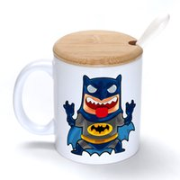 Wholesale Cute Bamboo Diy - Cute hero Mug Coffee Milk Ceramic Cup Creative DIY Gifts Mugs 11oz With Bamboo cover lid Spoon S178
