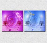 Wholesale 2pcs Set Wall Painting - 2pcs set Canvas printed Modern decorative oil painting on canvas wall art Purple red and Light blue rose for bedroom wall