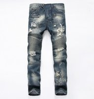 Wholesale Tight Cropped Jeans - 2017 Famous Distressed patches Biker Cargo Jeans stretch Demin jeans Hiphop Cropped Pants with Extreme ripped Straight Tight Plus size 29~42