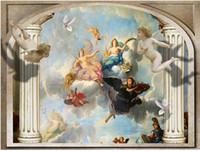 cenário de anjo venda por atacado-Pilares romanos europeus anjo 3d tv mural papel de parede 3d papel de parede 3d papéis de parede para tv pano de fundo