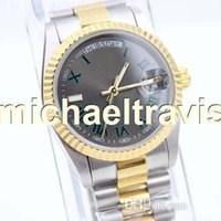 Wholesale Number Automatic Watches - Luxury Brand DAYDATE DAY DATE Two tone Green Roman Number Mens Watch Stainless Steel Men Watches Automatic Mechanical 36mm Wristwatch 116333