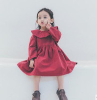 Wholesale Doll Collar Dress Sleeve - Christmas Kids Dresses Girls Doll collar Dresses Children Long Sleeve Red Dress Kids Vintage Style Princess dresses Kids Clothing G1256