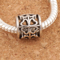 Wholesale bead tube jewelry - Tube Clover Round Metal Big Hole Beads 122pcs lot 9x9x9 mm Antique Silver Fit European Bracelets Jewelry DIY L1392
