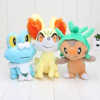 "Wholesale Chespin Plush - 7"" 18cm Anime Cartoon Fennekin Chespin Froakie Pocket Center Plush Toys Soft Stuffed Animal Doll For Gifts"