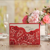 Wholesale Embossed Red Wedding Invitation - Wholesale-Chinese Red Laser Cut flower embossed Wedding invitations greeting  birthday printable card supplies CW5263