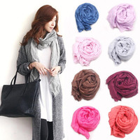 Wholesale Elegant Winter Scarf Woman - Wholesale-2016 New Brand Silk Scarves Solid Color Elegant Women Soft Wrap Shawl Long Stole Spring Winter Scarf