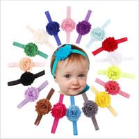 accesorios para el cabello shabby chic al por mayor-18 colores Baby headbands girls Shabby Chic Flower Headbands Elásticos Hairbands Niños Accesorios para el cabello Infant Boutique Hair Bows KHA330