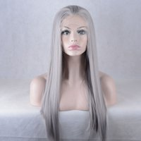 Wholesale Long Gray Wigs For Women - Synthetic hair beautiful women's silver gray long straight synthetic lace front wigs with baby hair for fashion women
