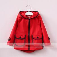 Wholesale Top Fashion Brands Korea - Everweekend Girls Pocket Hooded Jacket Outwear Autumn Spring Western Fashion Children Tops Sweet Baby Vintage Korea Clothing