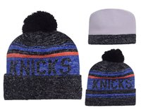 Wholesale Cheap Basketball Pom Beanies - 2016 Football Pom Pom Beanies Cheap Knicks basketball Beanies Knitted Beanie Hats Popular Warm Winter Caps Sports Team Hats Allow Mix Order