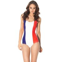 coole sportanzüge großhandel-Frankreich Flagge Bikini ein Stück Land Flagge Bademode Coole Bademode Schwarze Milch Sport Badeanzug Frau Badeanzug