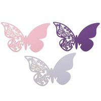 Wholesale New Creative Butterfly Place Escort Wine Glass Paper Card for Wedding Party Drinking