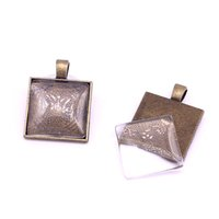 10set Antique Bronze Square 22 * ​​29mm (Fit 20 * 20mm dia) Подвесные заготовки Fit Jewelry Making Charms + Clear Glass Cabochons A4701