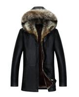 kürklü kürk kapüşonlu toptan satış-Erkekler Hakiki Deri Ceket Kış Palto Gerçek Rakun Kürk Yaka Kapşonlu Kaşmir Kar Dış Giyim Palto Sıcak Kalın açık Artı Boyutu Tops
