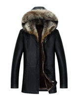 Wholesale Long Fur Collar Coat - Men Genuine Leather Jacket Winter Coats Real Raccoon Fur Collar Hooded Cashmere Tops Snow Outwear Overcoat Warm Thick outdoor Plus Size