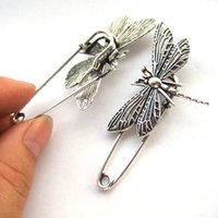 Wholesale Kilt Wholesale - Wholesale- 5 x Kilt Scarf Strong Metal Pin Large Safety Dragonfly Brooch Skirt Knitted 50mm Brooch Pins for Women