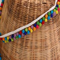 Wholesale White Fringe Trim - Handmade Lace Ribbon Sewing Accessories 2 yard 1.8cm Pom Pom Tassel Pompoms Trim Ball Fringe Embroidery DIY Apparel Fabric Cord