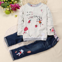 Wholesale Shirt Jeans Set - Autumn Winter Girl Clothes Infant Fashion Printing Girl Long Sleeve T-shirt+Jeans Cartoon 2pcs Set Children Clothing SKW-076