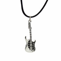 "Wholesale Guitar Vintage Jewelry - Wholesale-[$5 Minimum] 2015 New Hot Fashion Jewelry Vintage Silver Guitar Pendant 17"" Necklace DY68 Women Gift Wholesale Free Shipping"