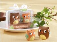 Wholesale baby shower ceramic favors resale online - Wedding favors and wedding gifts Baby shower Owl Always Love You Ceramic Salt and Pepper Shaker sets