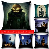 Wholesale Decorative Pillow Cover Sets - Happy Halloween Black Home Decorative Throw Pillow Case Cushion Cover 18 x 18 Inch Cotton Linen Set (Does not include pillow core)