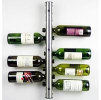 metal şarap rafı toptan satış-50 Adet / grup Bar Paslanmaz Çelik Şarap Rafı Şarap Raf Duvar Monteli Tutucu 8 Şişe 12 Şişeler
