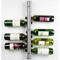 Wholesale Wine Wall Holder - 50Pcs lot Bar Stainless Steel Wine Rack Wine Shelf Wall Mounted Holder 8 Bottles 12 Bottles
