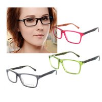 Vidrios De Colores Fríos Baratos-Colorido fresco Cool Unisex Fashion Design Prescription Glasses Frame Lente limpia Acetato Lentes Ópticas Gafas B04097