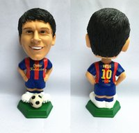 Wholesale Ronaldo Toy - 20cm Football Bobblehead Figure Soccer PVC Dolls Lionel Messi Neymar Cristiano Ronaldo Action Series Collection Christmas Gift Birthday Toy