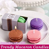 Wholesale Colored Wedding Favor Boxes - Macaron Baby Christening Candle Making In The Gift Box Gift Party Favor Children Gifts Wedding Christmas Party Light Candles