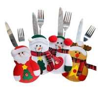 Wholesale Dining Forks - Christmas Stocking Bags Dining Table Knife Fork Holder Navidad Christmas Decoration Party Supplies Christmas Decor CCA7785 300pcs