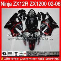 Wholesale Kawasaki Zx12r Fairings - 8Gifts 23Colors For KAWASAKI NINJA ZX 12 R ZX12R 03 04 05 06 52HM6 ZX1200 C ZX 1200 ZX 12R ZX-12R 2003 2004 2005 2006 Fairing Red flames