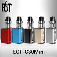 Wholesale E Cigarette Leak - ECT C30 mini 30W starter kit 1200mah box mod e cigarette 2.0ml electronic cigarette e shisha mod 0.3ohm 100% no leaking c30mini