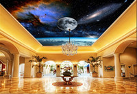 Wholesale sound absorbing materials - 3d ceiling murals wallpaper customize wallpaper for walls 3 d ceiling mural Dazzling space planet ceiling wallpapers for living room