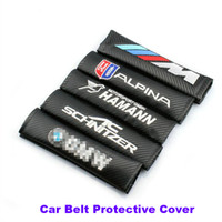 Wholesale cushion sets - Practicality 2pcs lot pu carbon fiber Car Seat Belts Padding Cover Car Belt cover Seat Belts & Pad E60 E90 F10 F30 F15 E63 E64 E65 E86
