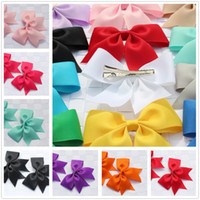 Wholesale Hair Stain - Wholesale- 2pcs boutique solid girls children stain hair clip bows ribbon flower hairband hairpins baby hair barrettes accessories headwe