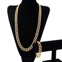 Wholesale Men Silver Necklace Bracelet Sets - Hip Hop ICED OUT 18K Gold Plated Full Diamond Curb Cuban Link Chain Necklace & Bracelets 2pcs Jewelry Sets For Men Women