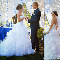 Wholesale Wedding Dresses For Outdoors - Romantic Mermaid Wedding Dresses 2018 vestido de novia Sweetheart Ruffles Tiered Tulle Lace Up Back Bridal Gowns For Outdoor Garden Wedding