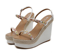 Wholesale Sexy Colorful Wedges - Sexy high heel wedge sandals colorful beading straw woven platform shoes women Size 34 to 40