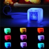 Wholesale Thermometer Digital Watches - 2017 Multi-function LED 7 Color Glowing Change Digital Alarm Clock LED Watch Glowing Alarm Thermometer Clock DHL Fedex free