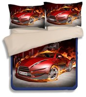 Wholesale Comforter Sets For King Size - Fashion Red Race Car Bedding Set Duvet Cover Bed Sheets Pillowcase Bedroom Textiles Sets 3 4pcs for twin full Queen king Size Bed