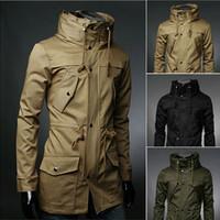 xxl yüksek yaka ceketi erkek toptan satış-Toptan-2016 yeni İngiltere stil Yüksek yaka ceket trençkot erkekler ordu yeşil İş rahat ince Rüzgarlık erkekler için ceket ceket M-XXL