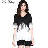 Wholesale Plus Size Ruffled Blouse - 2017 Women Summer V Neck Short Sleeve Chiffon Blouse Elegant Patchwork Tassel Layers Ruffles Blouse Plus Size Women Tops 4XL