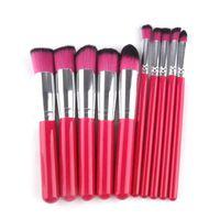 Wholesale Make Up For Face - 10pcs set Makeup Brush Kit Hot Red Wood Handle Make Up Brushes Sets for Foundation Face Powder Blush Eyes Beauty 2805117