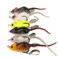 Wholesale Mice Lures - 60pcs 6-color 5cm 10.5g Mouse Silicone Lures Soft Baits Fishing Lure Fishing Hooks Fishhooks Double Hook Artificial Bait Pesca Tackle