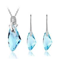 ingrosso elementi in swarovski-Cristallo austriaco Swarovski Elements DHL Sterling Silver Plated Jewelry Set Charms Collana bianca e un paio di orecchini