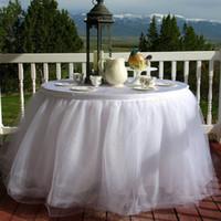 tutu geburtstag kuchen großhandel-Weißer Tüll-Tischrock Tutu-Tischrock für Hochzeits-Geburtstagsfeier-Kuchentischzubehör Nach Maß Hochzeitsdekorationen
